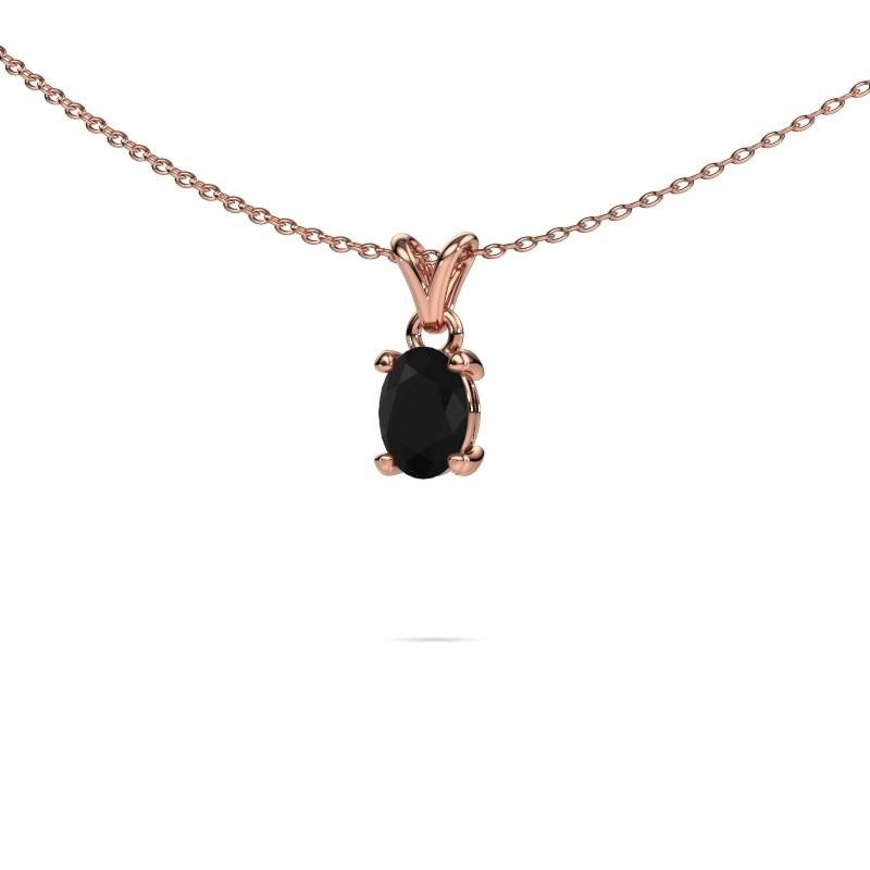 Ketting Lucy 1 375 rosé goud zwarte diamant 0.96 crt