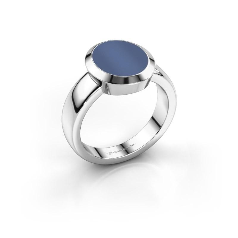 Zegelring Oscar 3 925 zilver blauw lagensteen 12x10 mm