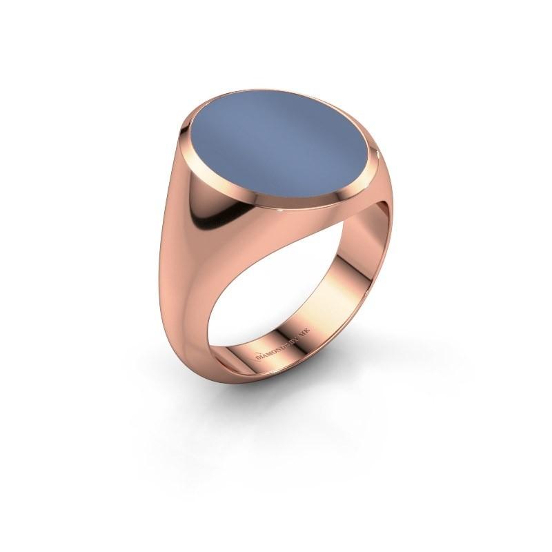 Signet ring Herman 6 375 rose gold light blue sardonyx 16x13 mm