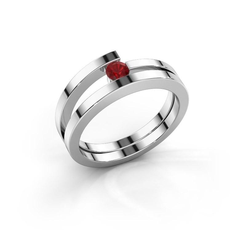 Ring Sandy 925 zilver robijn 3.4 mm