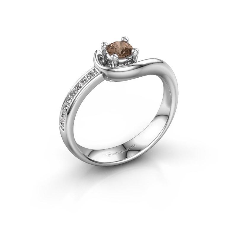 Ring Ceylin 585 witgoud bruine diamant 0.31 crt