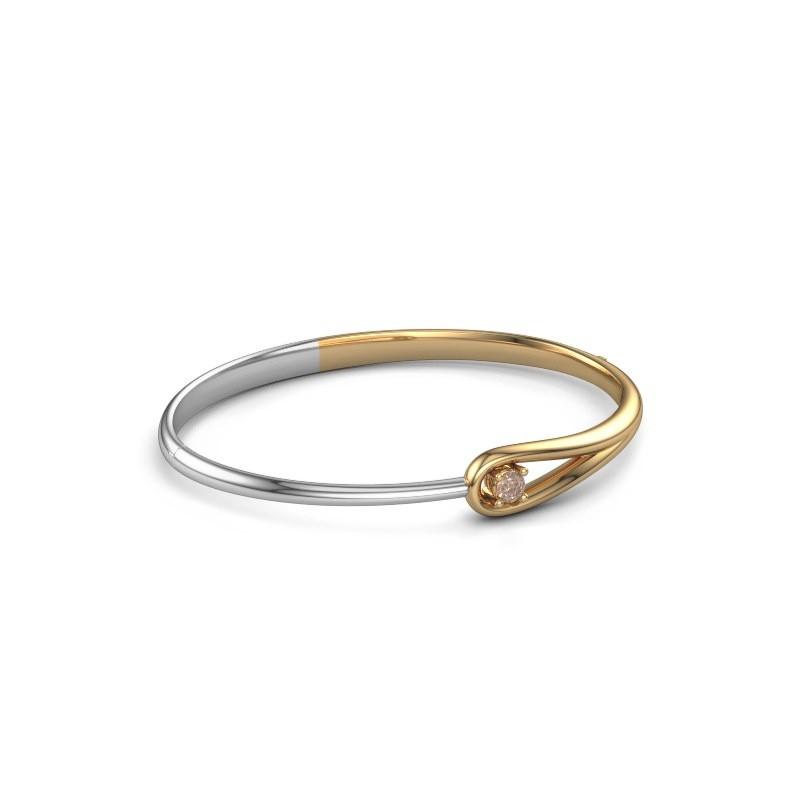 Slavenarmband Zara 585 goud bruine diamant 0.25 crt