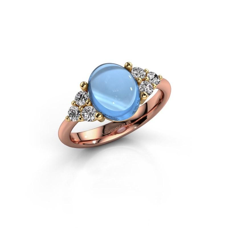 Ring Clarice 585 rosé goud blauw topaas 10x8 mm