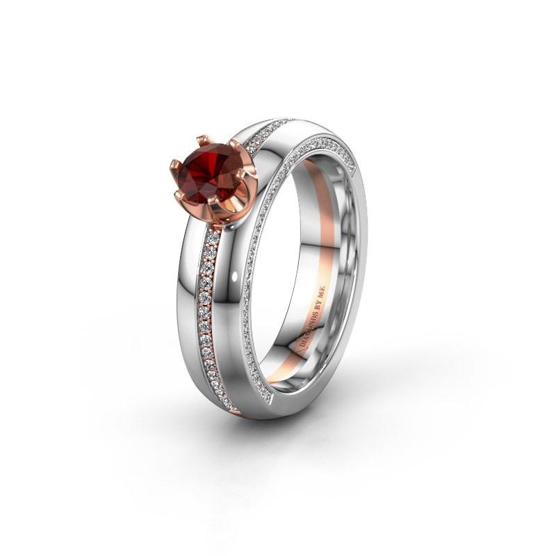 Huwelijksring WH0416L25E 585 rosé goud granaat ±5x2.6 mm