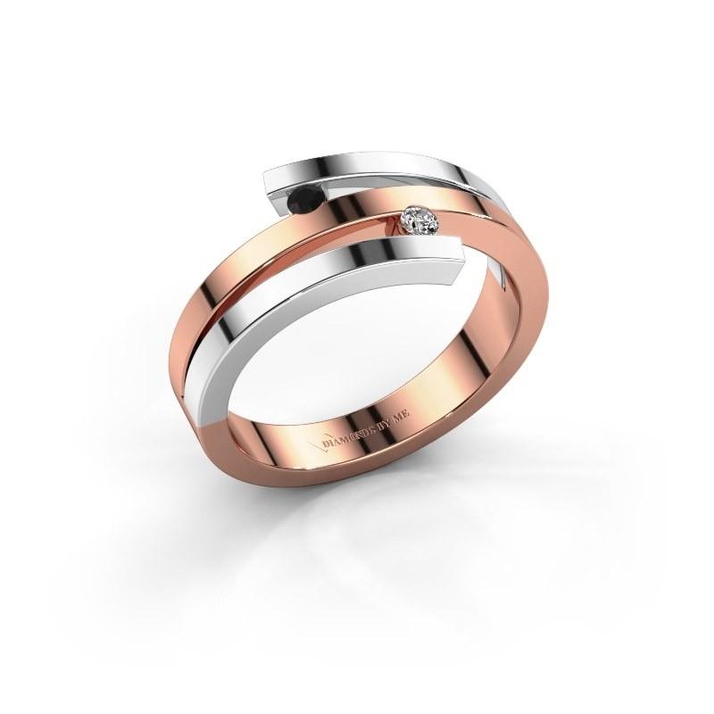 Ring Roxane 585 rosé goud zwarte diamant 0.066 crt