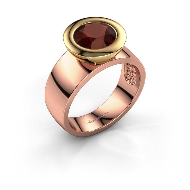 Ring Maxime 585 rosé goud granaat 8 mm