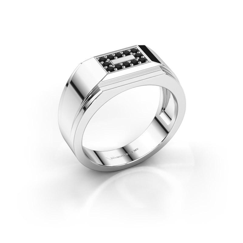 Men's ring Roan 925 silver black diamond 0.216 crt