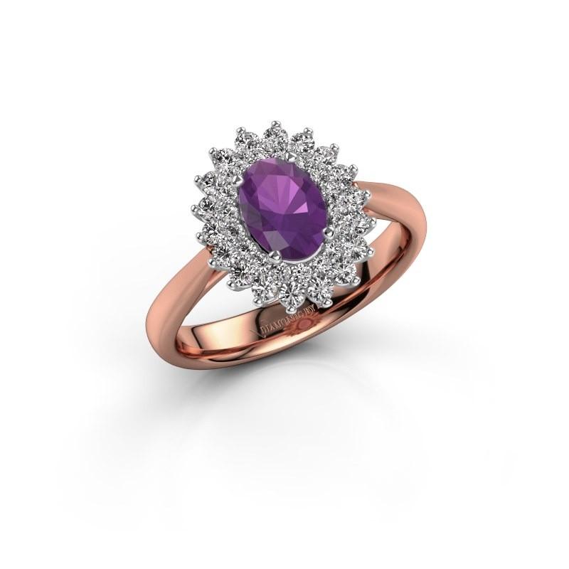 Engagement ring Alina 1 585 rose gold amethyst 7x5 mm
