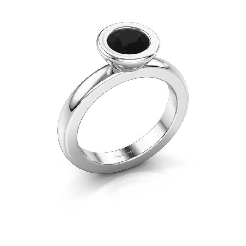 Stapelring Eloise Round 925 zilver zwarte diamant 0.96 crt