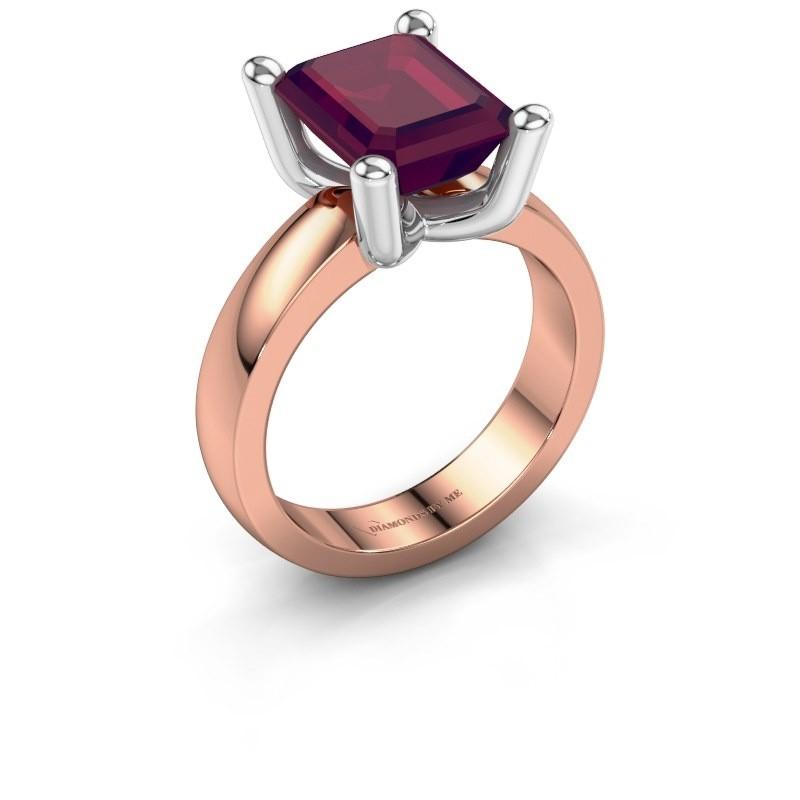 Ring Clelia EME 585 rosé goud rhodoliet 10x8 mm
