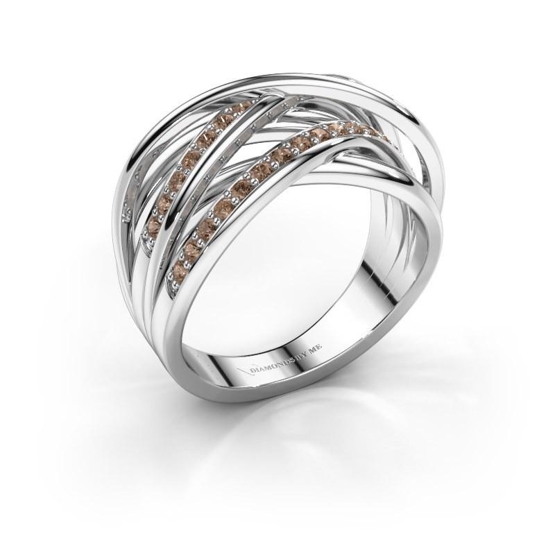 Ring Fem 2 950 platina bruine diamant 0.450 crt