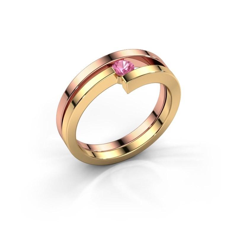 Ring Nikia 585 rosé goud roze saffier 3.4 mm