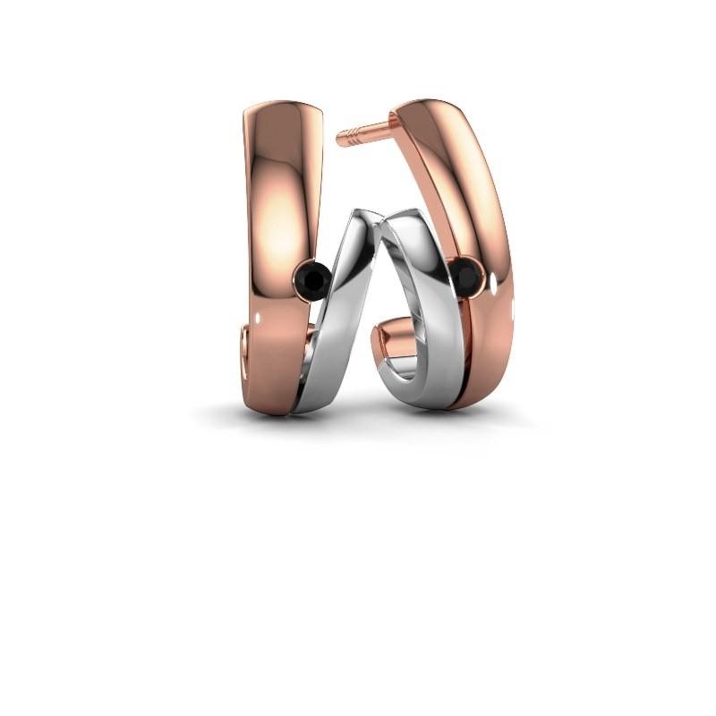 Oorbellen Shela 585 rosé goud zwarte diamant 0.072 crt