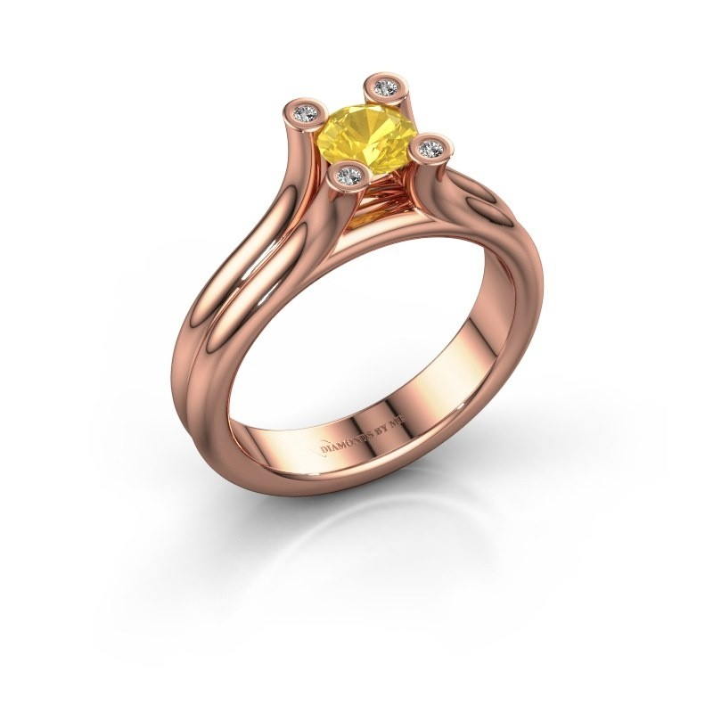 Engagement ring Stefanie 1 375 rose gold yellow sapphire 5 mm