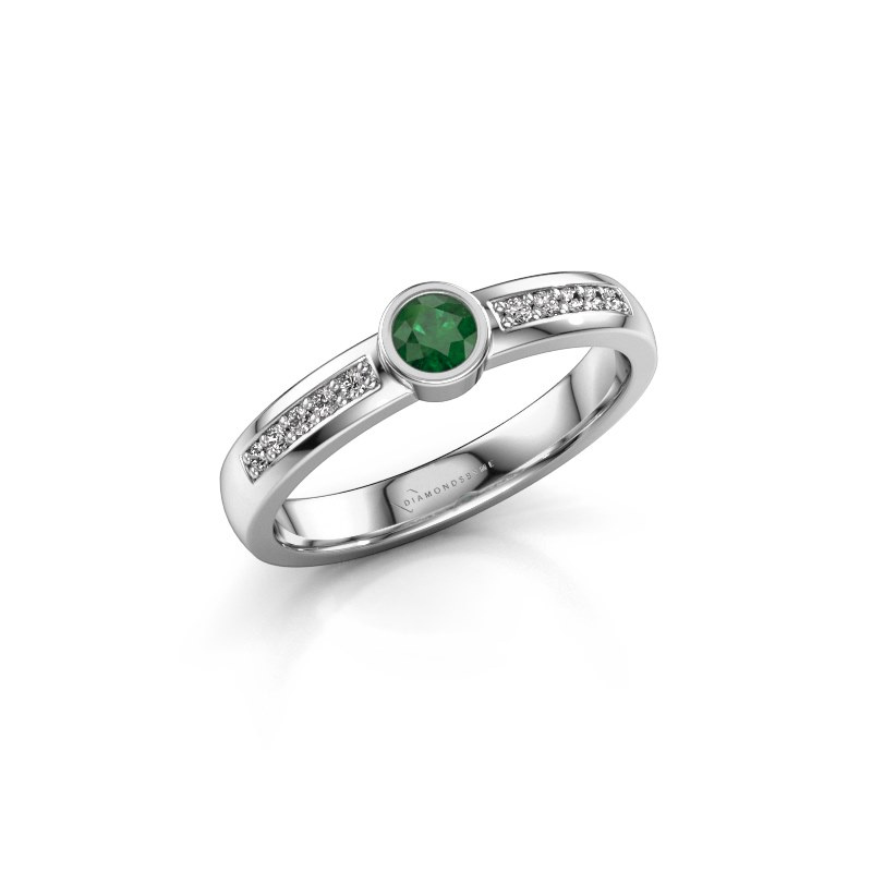 Engagement ring Ise 2 585 white gold emerald 3.7 mm