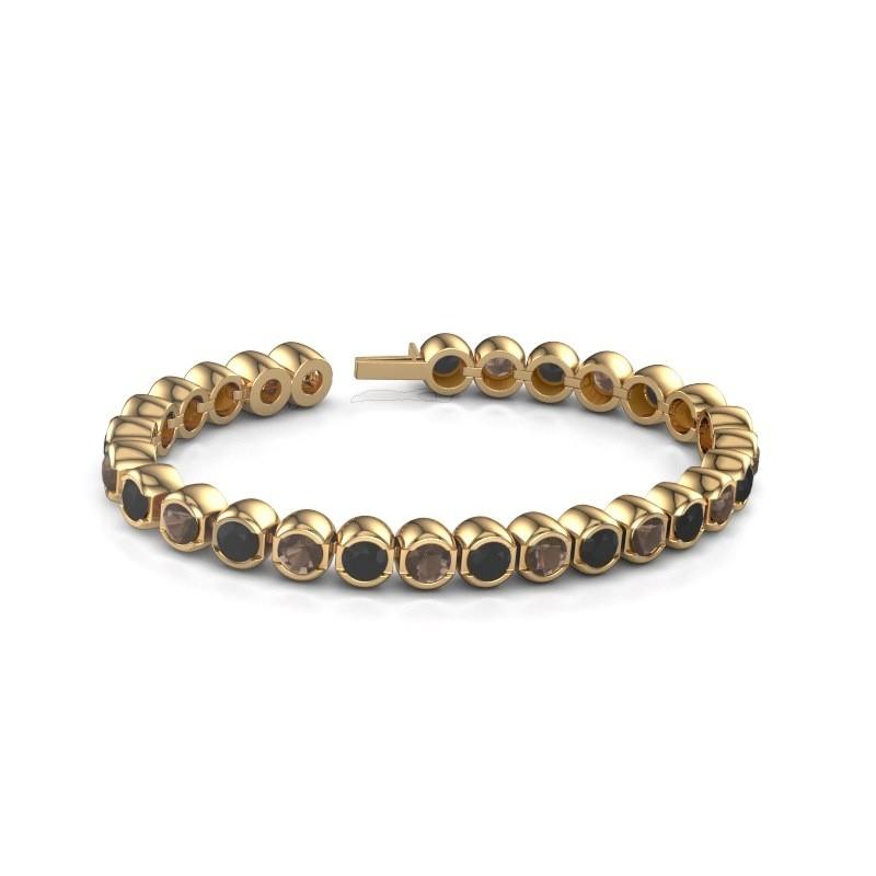 Tennisarmband Delma 375 goud rookkwarts 5 mm