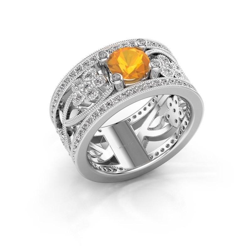 Ring Severine 950 platina citrien 6 mm