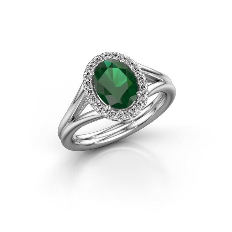Verlobungsring Rachele 1 585 Weissgold Smaragd 8x6 mm