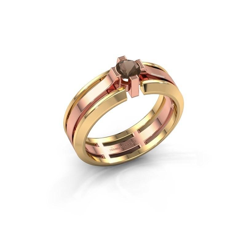 Heren ring Sem 585 rosé goud rookkwarts 4.7 mm