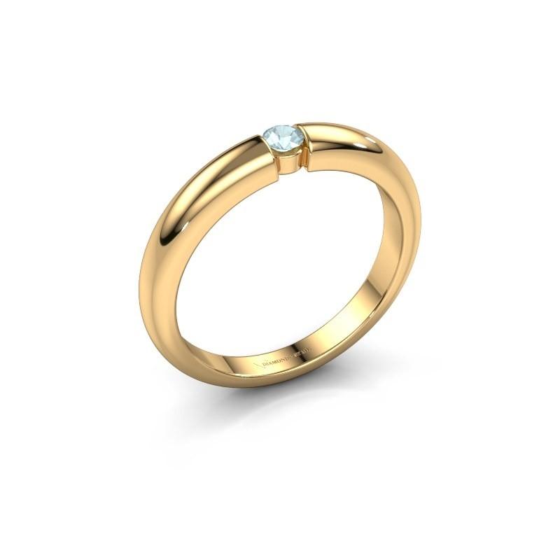 Verlovingsring Amelia 375 goud aquamarijn 3 mm