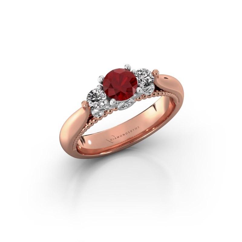Verlovingsring Tiffani 585 rosé goud robijn 5 mm