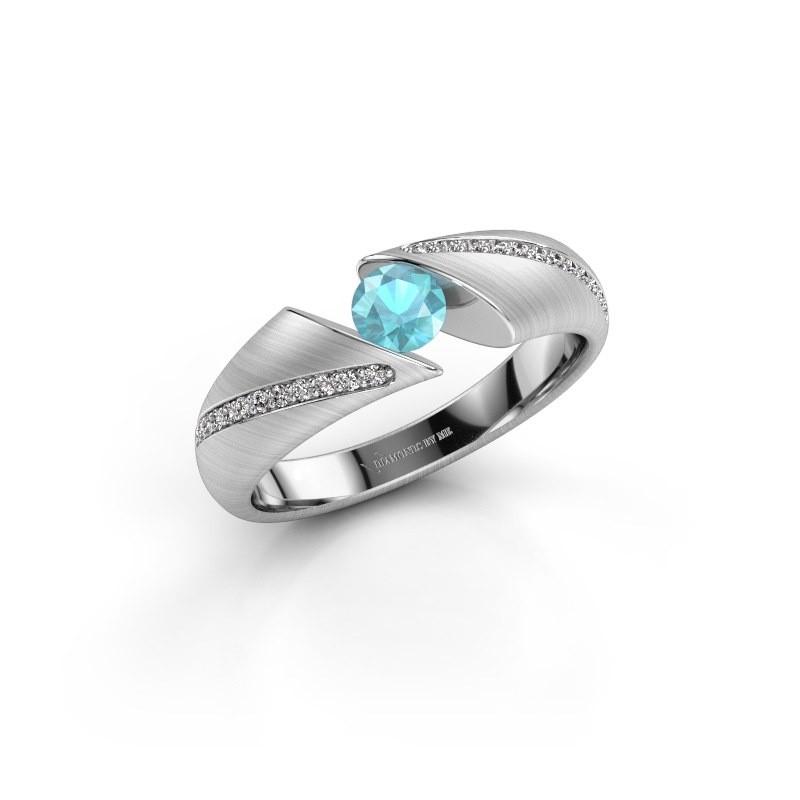 Verlovingsring Hojalien 2 950 platina blauw topaas 4.2 mm