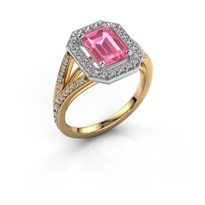 Promise ring Angelita EME 585 goud roze saffier 8x6 mm
