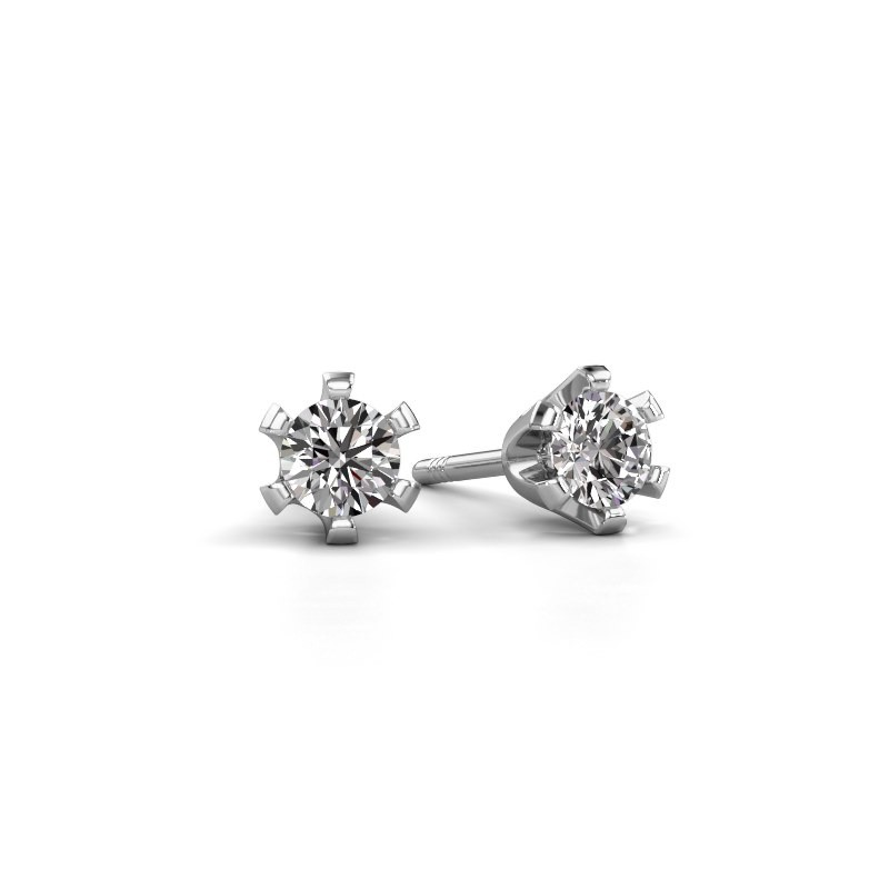 Stud earrings Shana 950 platinum zirconia 4 mm