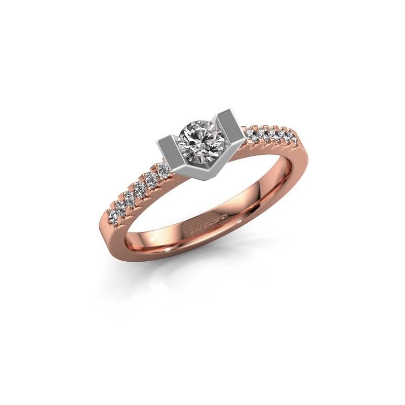 Bague de fiançailles Sherley 2 585 or rose diamant 0.48 crt