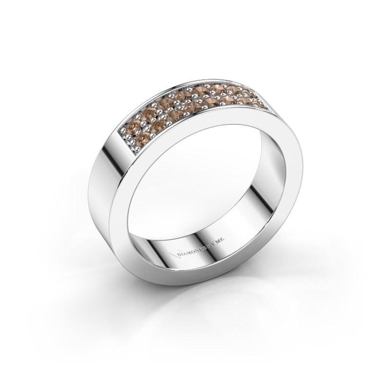 Stackable ring Catharina 5 950 platinum brown diamond 0.32 crt
