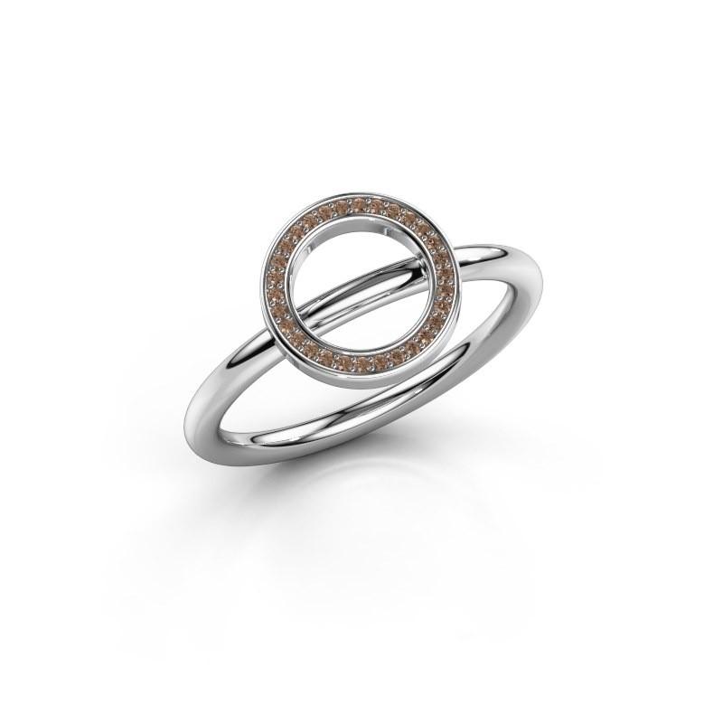 Bague Shape round large 925 argent diamant brun 0.075 crt