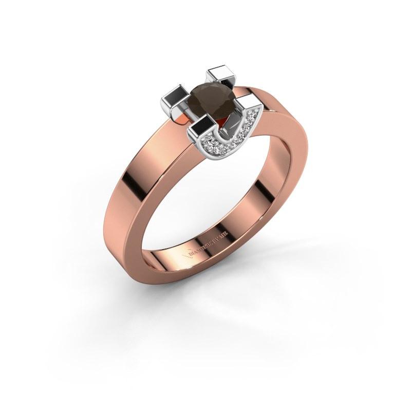 Verlovingsring Jasmijn 1 585 rosé goud rookkwarts 4.2 mm