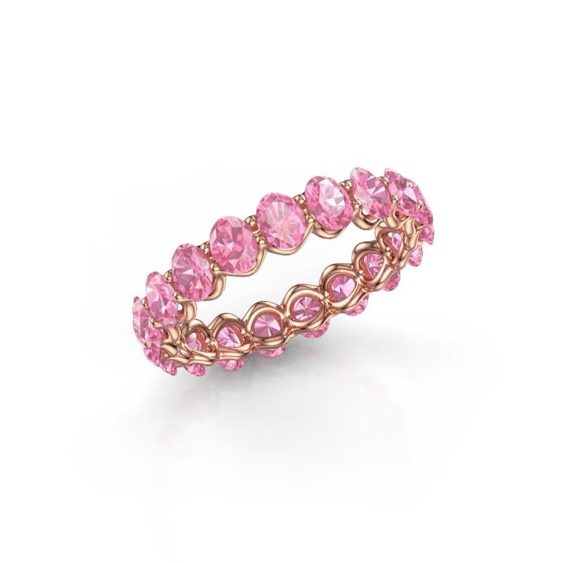Ring Kirsten OVL 4x3 375 rosé goud roze saffier 4x3 mm