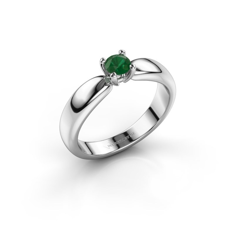Promise ring Katrijn 950 platinum emerald 4.2 mm