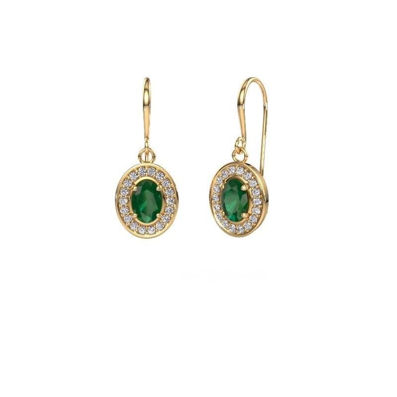 Drop earrings Layne 1 375 gold emerald 6.5x4.5 mm