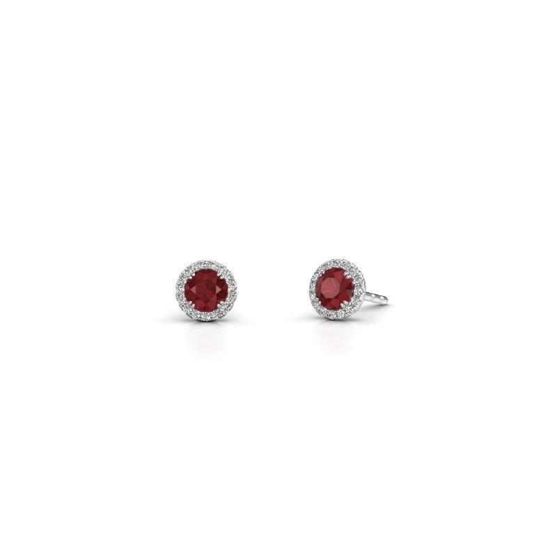 Earrings Seline rnd 585 white gold ruby 4 mm
