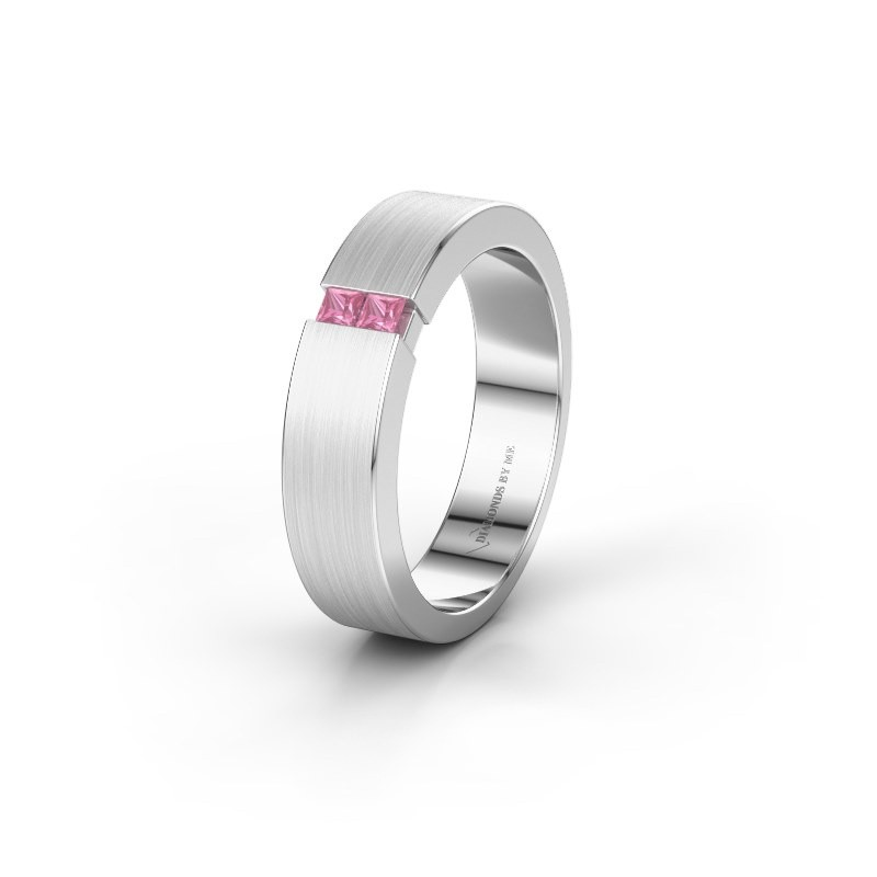 Wedding ring WH2136L15E 925 silver pink sapphire ±5x2.6 mm