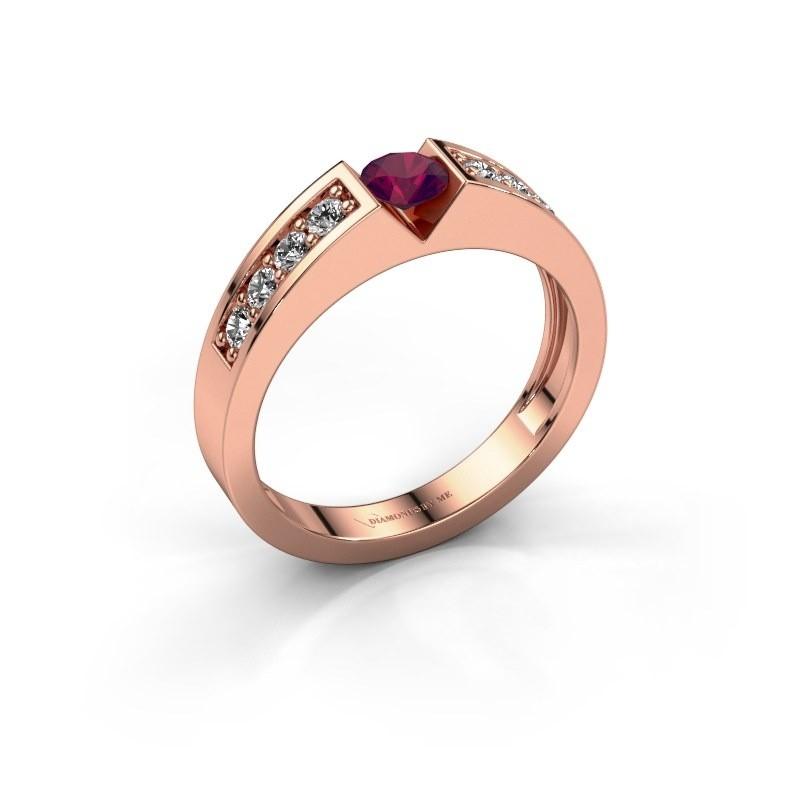 Verlovingsring Lizzy 2 375 rosé goud rhodoliet 4.2 mm