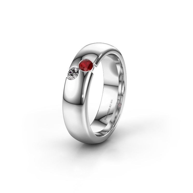 Wedding ring WH1003L26C 925 silver ruby ±6x2.2 mm