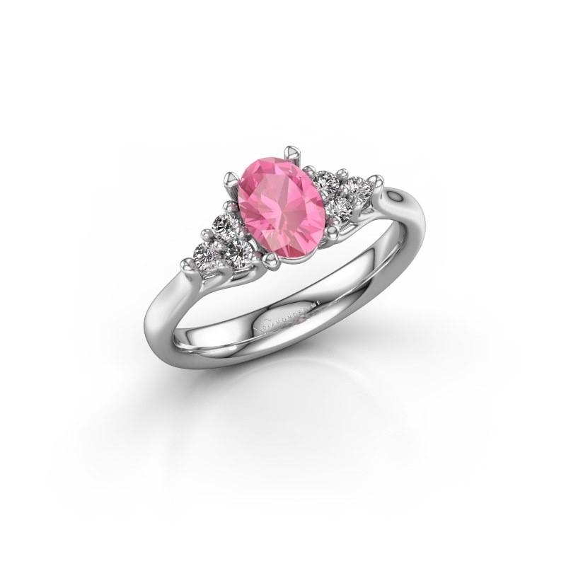 Verlovingsring Monika OVL 585 witgoud roze saffier 7x5 mm