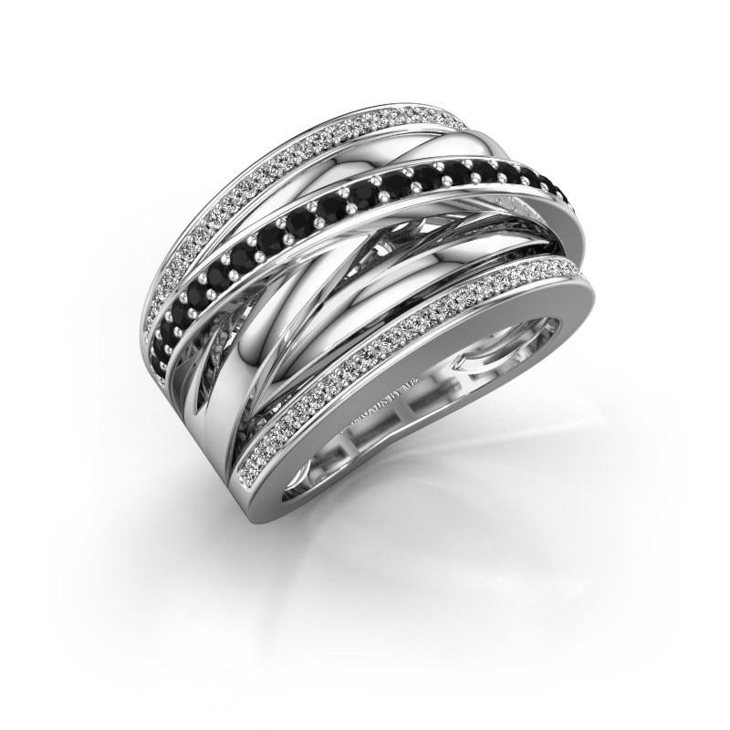 Ring Clair 2 950 Platin Schwarz Diamant 0.628 crt