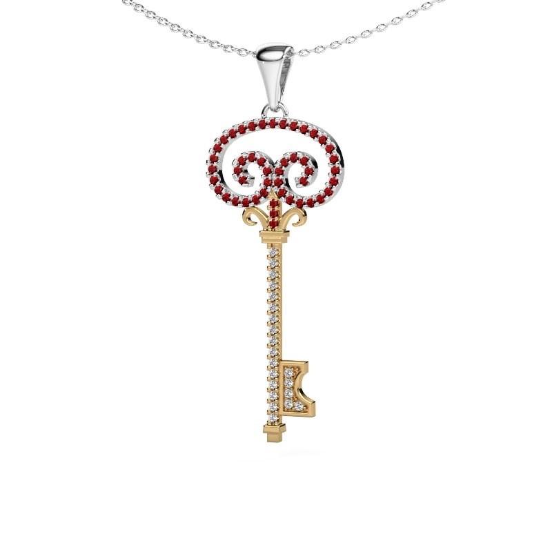 Collier Key 1 585 goud robijn 1 mm