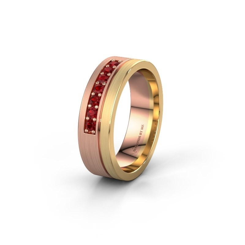 Trouwring WH0312L16AM 585 rosé goud robijn ±6x1.7 mm