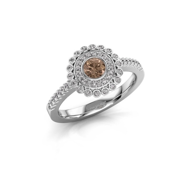 Engagement ring Shanelle 585 white gold brown diamond 0.25 crt