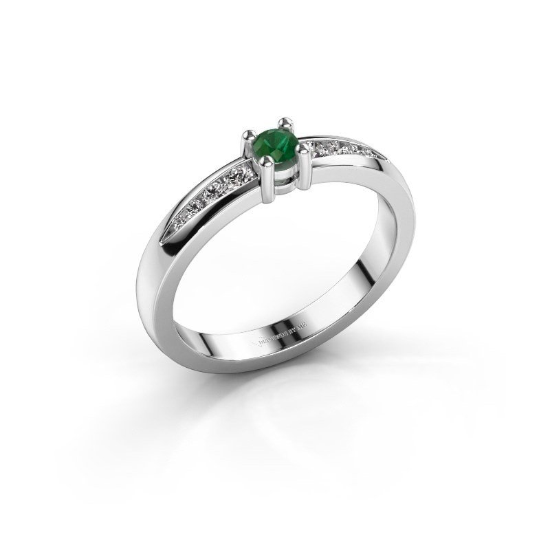 Verlovingsring Zohra 585 witgoud smaragd 3 mm