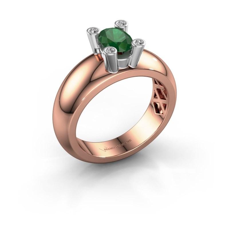 Ring Cornelia Oval 585 Roségold Smaragd 7x5 mm