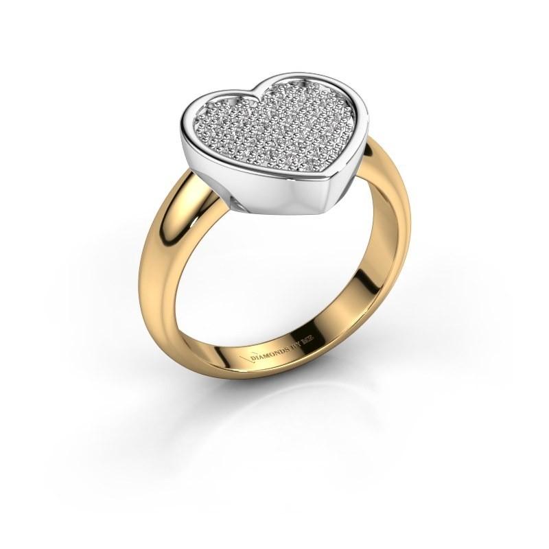 Ring Veerle 585 goud zirkonia 1 mm