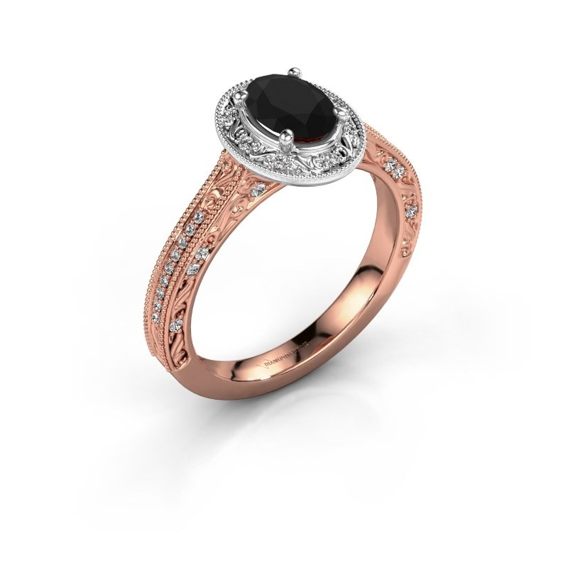 Verlovingsring Alice OVL 585 rosé goud zwarte diamant 1.065 crt
