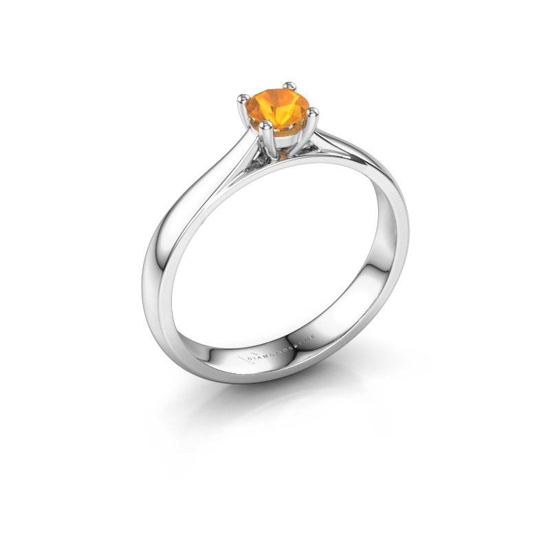 Engagement ring Sam 585 white gold citrin 4.2 mm