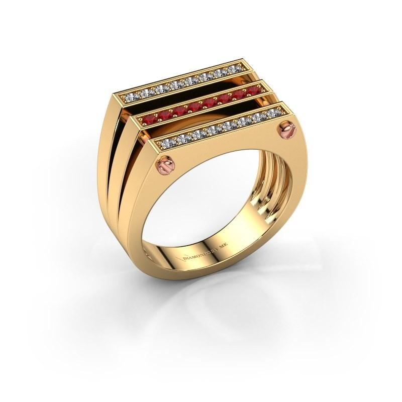 Heren ring Jauke 585 goud robijn 1.7 mm